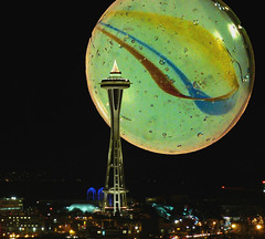 When Worlds Collide (sea turtle) Tags: seattle photoshop worlds planets spaceneedle marbles marble collision whenworldscollide photoshopelements whenmarblescollide