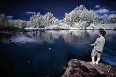The Water Boy (Gilad Benari) Tags: winter boy red lake fish landscape ir israel heaven expression dream filter infra waterboy gilad yarkon hoyar72 benari