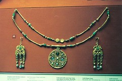 London - British Museum - Byzantine Jewelry (jrozwado) Tags: uk england london art history museum necklace europe unitedkingdom earring jewelry britishmuseum byzantine pendant