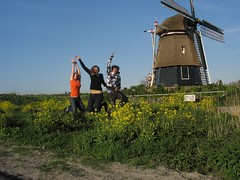 we did it - jumping infront of a mill (mohn_nika) Tags: holland mill netherlands jump canonpowershota610