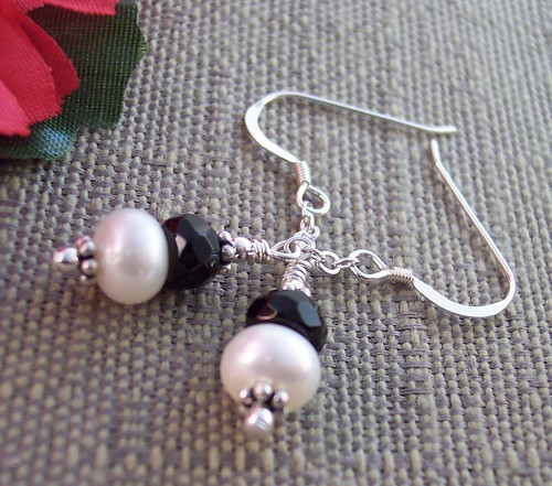 Freshwater Pearl Faceted Black Onyx Sterling Earwire Dangle Earrings