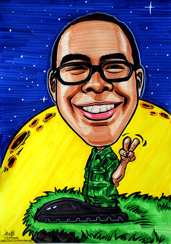 Caricature SAF uniform starry night