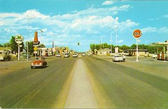 Intersection of 1st and Gaynell - 1959 (mark_potter_2000) Tags: newmexico vw route66 pegasus mobil 1950s oil shamrock tucumcari 1959 mobilstation mobiloil flyingredhorse gulfstation