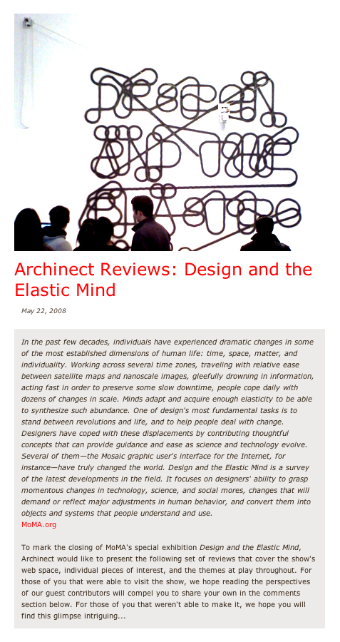 Archinect Reviews: Design and the Elastic Mind
