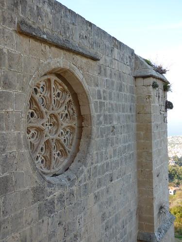 Bellapais Abbey, upper cloister walk, refectory rose window
