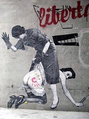 The spanking - pasted paper [Genève, Suisse] (biphop) Tags: streetart pasteup collage paper women europe suisse geneva swiss wheatpaste pasted genève spanking femmes swizerland fessée îlot13