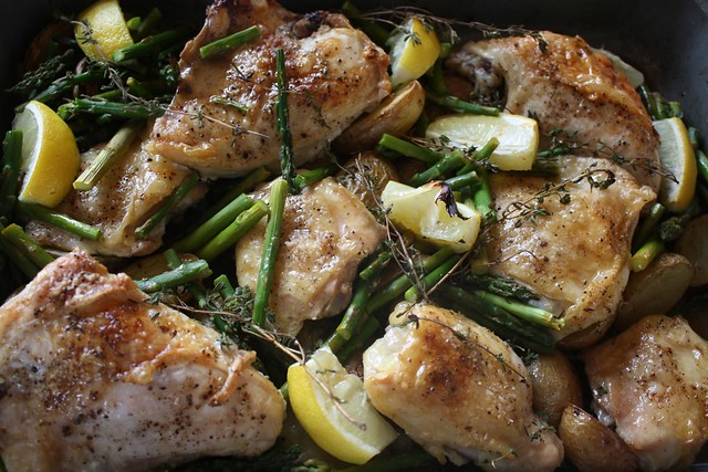 Roasted Chicken w/Potatoes, Asparagus & Lemons