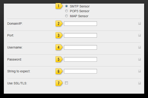 Settings for SMTP monitoring