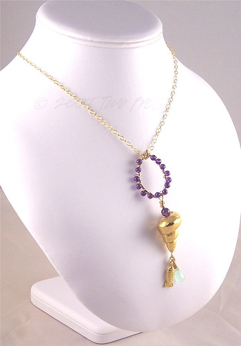 Sunlit Violet--Artisan-Indie Jewelry--Ameythyst, Aventurine, and Gold Pendant/Charm Necklace by TwoPretty.com