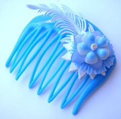 Blue Vintage Flowers Hair Comb / Barrette