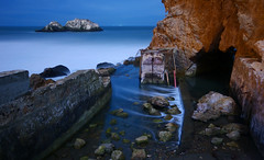 And so the sea consumes the remains... (After Dark Photo) Tags: ocean sanfrancisco longexposure nightphotography blue landscape ruins sutrobaths flickrsbest