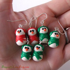 Mini snowmen earrings