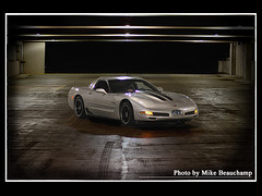 2004 Corvette Z06 (Mike Beauchamp) Tags: auto street black chevrolet car night speed silver dark gm alone parkinggarage stripes fast chevy kansas corvette legend wichita bowlinggreen vette c5 riceburner z06 streetracing 6speed americanmuscle anawesomeshot ricekiller