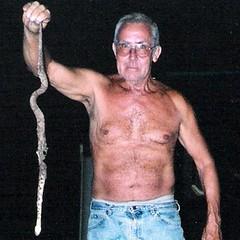 grandpa (Hippy Jon) Tags: shirtless man snake grandpa copperhead ...