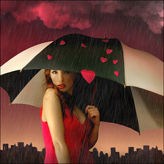 It's raining   LOVE   but I'm keeping dry... (ilina s) Tags: city pink urban woman selfportrait newyork love beauty rain skyline clouds umbrella photomanipulation photoshop hearts intense holding cityscape manhattan sensual 200 processing valentines editing straight seductive playful valentinesday 500x500 ilina conceptphotos ilinas
