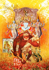 The Monkey // Laprisamata // prisa mata // prisamata (laprisamata) Tags: madrid india money art collage illustration paper poster monkey design spain stencil arte graphic god surrealism indian culture fast toledo mano kingkong luis diseo mata negra dinero indio ilustracion cartel grafico prisa mestizo mestizaje kulture laprisamata fumables inofensivos prisamata