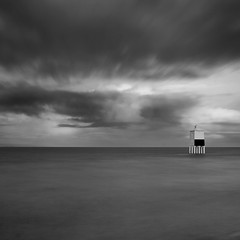 Lighthouse and Storm (Adam Clutterbuck) Tags: ocean uk longexposure greatbritain sea england blackandwhite bw cloud lighthouse seascape storm monochrome clouds square landscape mono coast blackwhite wooden spring high cloudy unitedkingdom britain tide somerset bn severn coastal shore elements gb bandw sq limitededition burnham burnhamonsea 500x500 greengage adamclutterbuck sqbw bwsq showinrecentset shortedition le50 winner500 limitededition50