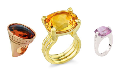 Three rings from Ron Hami, Pianegonda, and Rebecca jewelry
