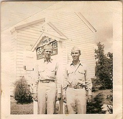 Pvt. Thomas Craft (left) in Florida (Valerie's Genealogy Photos) Tags: family private soldier army familyhistory photos thomas wwii craft worldwarii genealogy soldiers familyphotos oldfamilyphotos vintagephotos craftfamily thomascraft genealogyresearch familyhistoryresearch