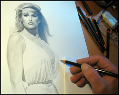 Andress 02 work in progress (pbradyart) Tags: portrait bw art pencil star sketch artwork actress helluva ursulaandress