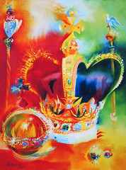 Crown Jewels I (2000) by Stephen B Whatley (Stephen B Whatley) Tags: uk red london art crimson diamonds painting gold cross ermine dove royal orb velvet ring sparkle expressionism fabulous jewels crownjewels royalty monarchy toweroflondon 1953 coronation queenelizabeth sceptre thequeen jewelhouse stephenbwhatley