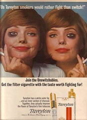 1965 Tareyton ad (MsBlueSky) Tags: classic weird 60s cigarette ad smoking creepy advertisement odd 1960s slogan sixties 1965 cigarettead tareyton darkeyecircles
