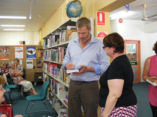 William McInnes signs a book for GIna