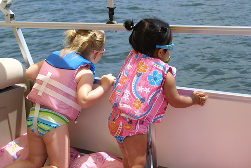 Girls enjoying their favorite lake activity, watching the water splash!