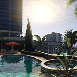 GTAV - Panoramic 2560x1080 Ultrawide 21:9 Widescreen Wallpaper - Micheal Poolside (Day) by The Game Tips And More Blog (GTAV Logo) thumbnail