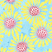 Yellow Daisy Print Blue watercolored background4x6