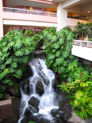 waterfall inside the hotel