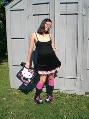 shopping in pink and black (Lorena Cupcake) Tags: urban feet fashion socks clothing shoes dress girly style skirt heels kicks accessories columbusoh shoegazer fashionvictim kneehighsocks streetstyle lowerhalf brandwhore otks