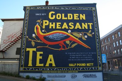 A vintage-styled mural on Water Street