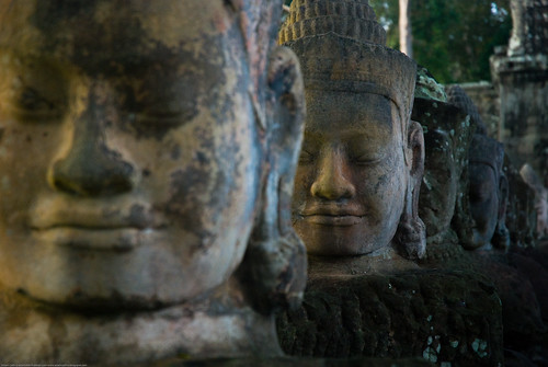 Statues outside the Bayon, Angkor Wat, Cambodia