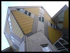 Kubuswoning (Cubic Houses)* (fdo h) Tags: windows yellow rotterdam bricks thenetherlands 1984 kubuswoning cubichouses pietblom photographyfernandoherrera