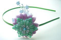 Green and Purple Vintage Flowers Headband
