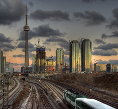 sunset reflections on the GO (scienceduck) Tags: city november sunset 15fav toronto ontario canada reflection public skyline 1025fav 510fav train wow bravo cntower go rail wideangle condo railyard traintrack hdr gotrain tdot 2007 bathurststreet bathurststreetbridge scienceduck 3ex getonthego exquisiteimage