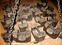 50lb weights (crabchick) Tags: wood old chains scales weights weighing canonpowershota520 50lb