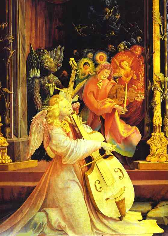 GRÜNEWALD, Matthias Concert of Angels and Nativity c. 1515