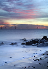 Scroby Sands Powering the Sky (. Andrew Dunn .) Tags: uk longexposure sea england seascape landscape dawn coast twilight sand rocks britain norfolk alternativeenergy 13 turbine windturbine windfarm eastanglia renewableenergy caister offshorewindfarm caisteronsea scrobysands challengeyouwinner scrobysandswindfarm