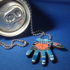 """Heart In Hand"" - Milagros Aluminum Can Pop Art Necklace 3 of 4 photos (Urban Woodswalker) Tags: blue red metal silver necklace shiny colorful hand heart graphic recycled handmade unique ooak mexican popart jewelery milagros pendant sodapop repurposed advertisingart upcycled trashion aluminumcanart urbanwoodswalker"