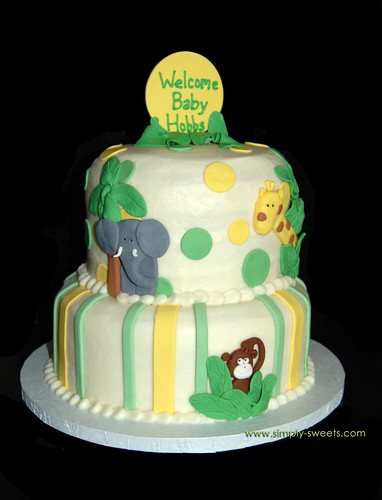 Jungle themed baby shower cake