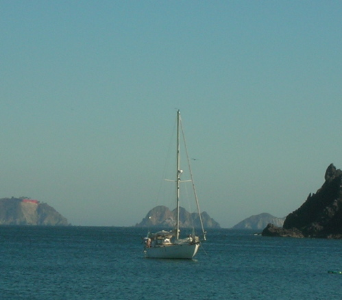 Westsail 32 at anchor in Tenacatita Bay