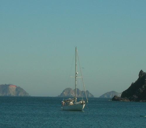 Westsail 32 at anchor in Tenacatita Bay