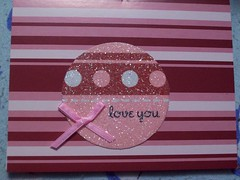 love you (card) (speckled_beckle) Tags: pink red white stripes craft hobby card ribbon dots valentinesday papercrafts handmadecards paperfetish valentinescard howispendmyfreetime cardsneversent curesforboredom