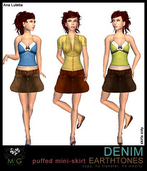 [MG fashion] DENIM puffed mini-skirt EARTHTONES