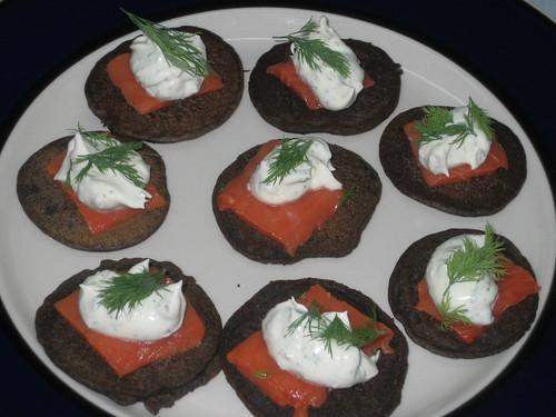 smoked salmon blini with creme fraiche