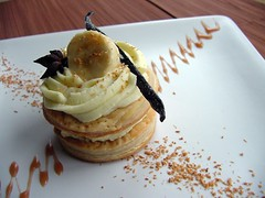 Banana Coconut Napoleon: puff pastry stack with coconut pastry cream and caramelized Malibu bananas, served with caramel sauce. Something I made way back in 2005.