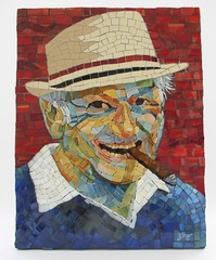 Papa Harry (Ginny Sher) Tags: old portrait art glass smile hat happy mosaic smoke stainedglass cigar golfer