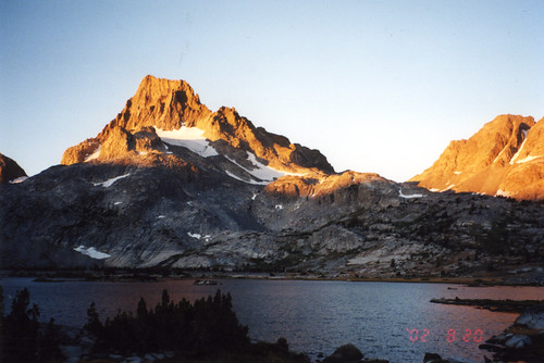 Sierra, 2002: Morning light on Mt. Banner from Thousand Island Lake